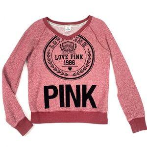Victorias Secret PINK Flocked Crest Sweatshirt M